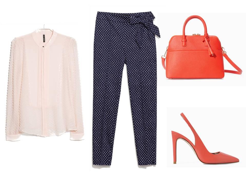 Camisa Rosa de plumetti de mango, pantalón de puntos, bolso y zapatos coral de Zara