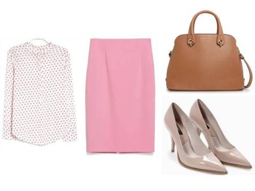 Camisa estampada y bolso de Mango, Falda tubo rosa y salones nude de Zara