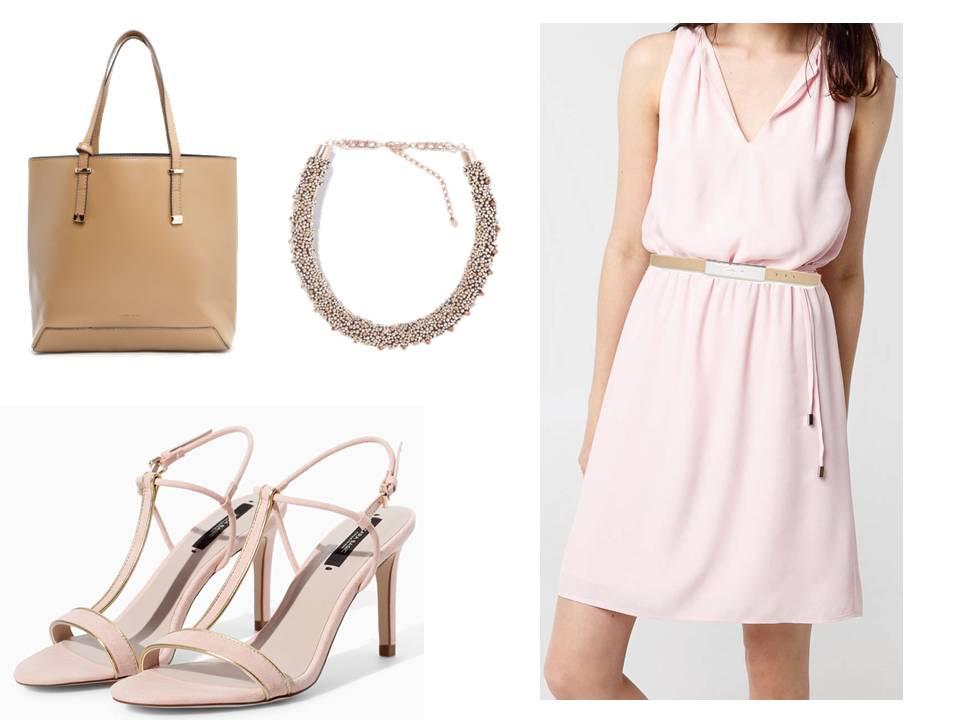 Vestido Rosa, Cinturón con placa metálica y bolso shopper de Mango, Sandalias rosas y collar dorado de Zara