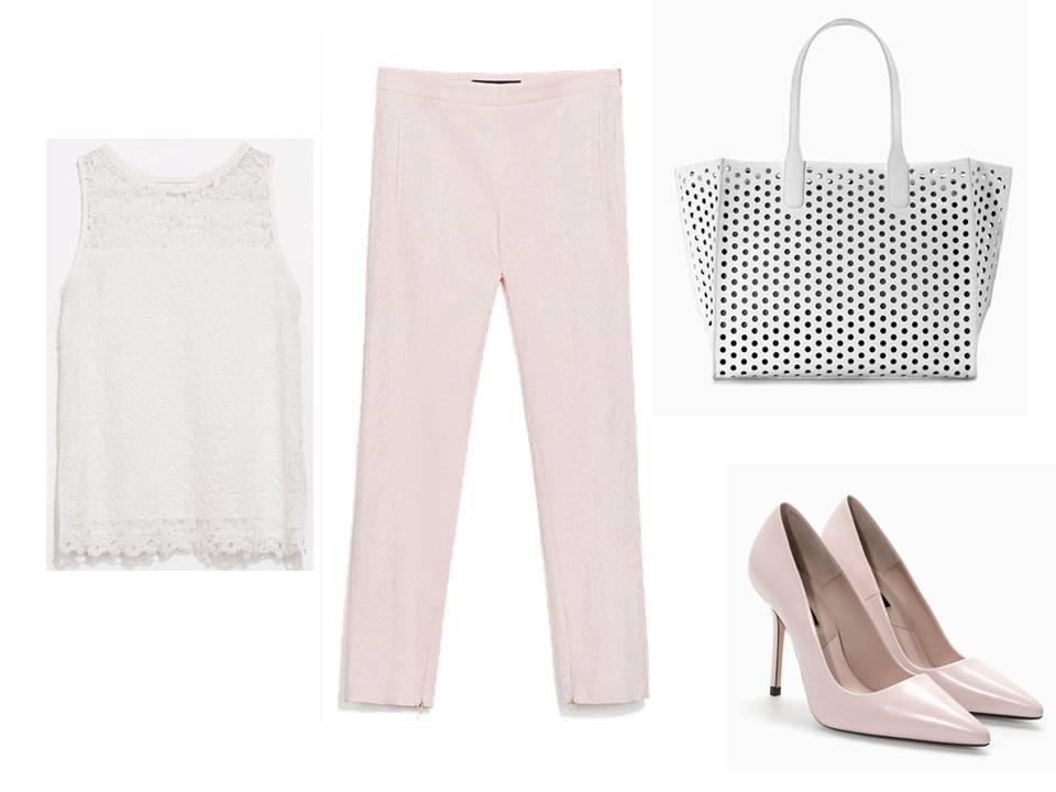 Total look de Zara: Camiseta blanca de guipur, pantalón estampado jacquard, salones nude y shopper troquelado blanco