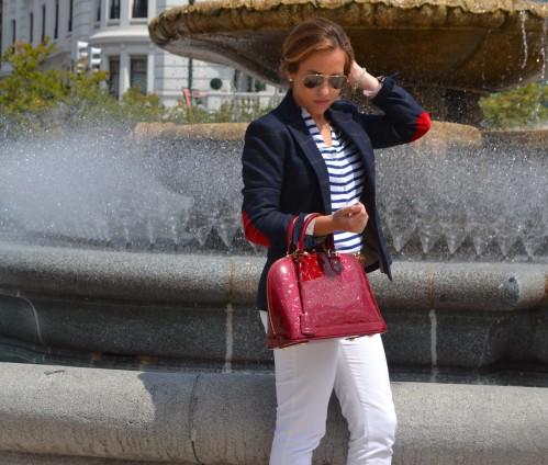 Streetstyle Inspiración marinera traje oficina blazer bolso louis vuitton zara massimo dutti sandalias