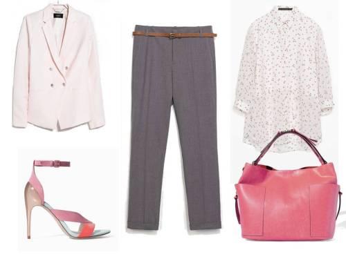 Chaqueta de lino rosa y camisa estampada de Mango, Sandalias combinadas, bolso y pantalón gris de Zara