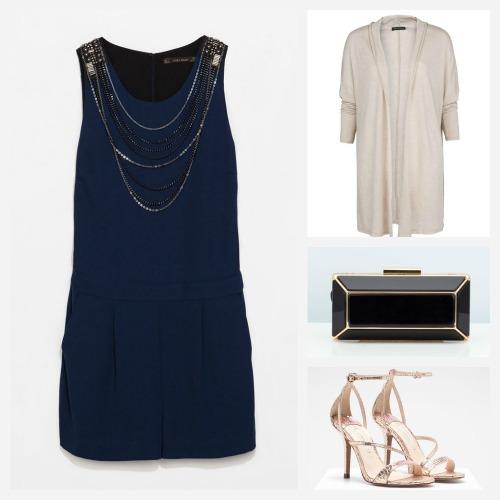 Ideas para combinar un mono corto azul para una boda