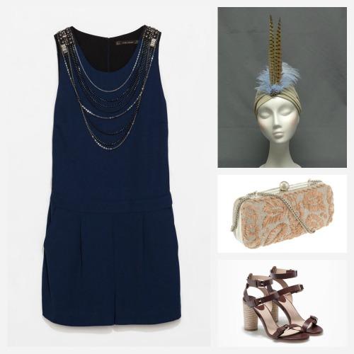 Mono azul corto de zara, turbante, bolso rafia, sandalias yute. Ideas para una boda. Cómo combinar un mono para una boda.