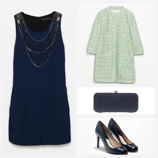 Mono azul corto y abrigo verde agua de Zara, peep toes Massimo Dutti y Clutch de Parfois. Ideas para una boda. Cómo combinar un mono azul para una boda.