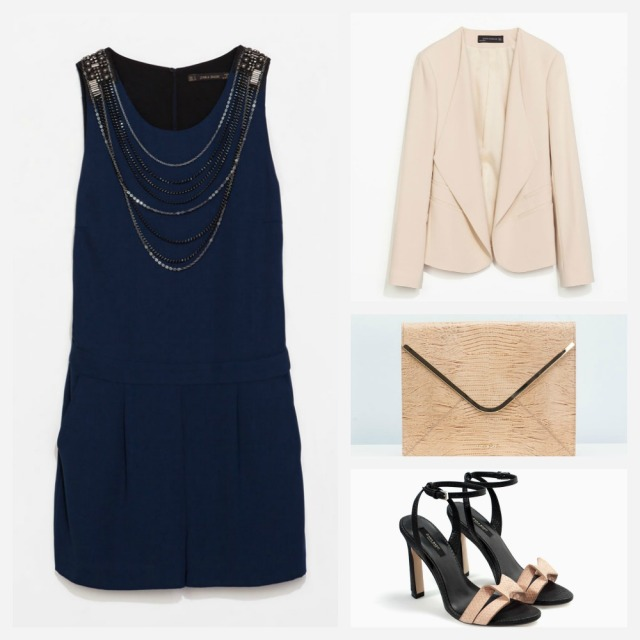 Mono corto azul, chaqueta empolvada y sandalias de Zara, bolso de Uterqüe.