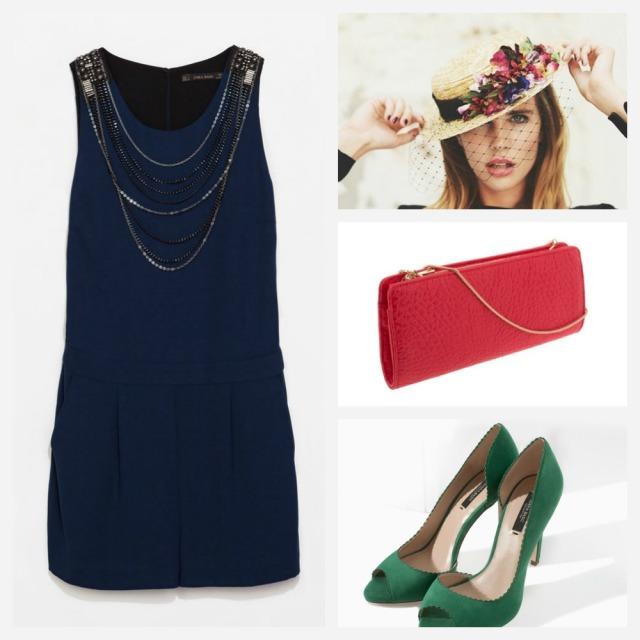 Mono azul corto, clutch bolso de mano coral, zapatos peep toes verdes canotier flores cherubina rosa y azul