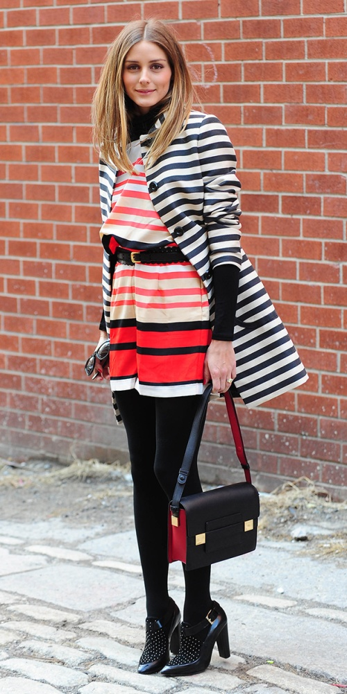 olivia palermo stripped coat mix and match