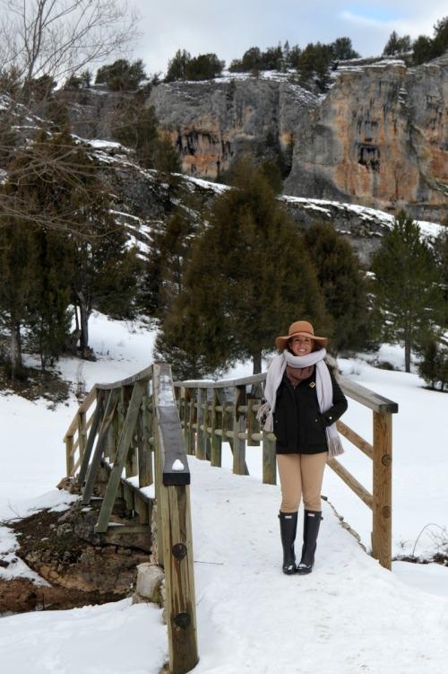 Look excursión nieve frío hunter boots botas abrigo verde capucha zara parka
